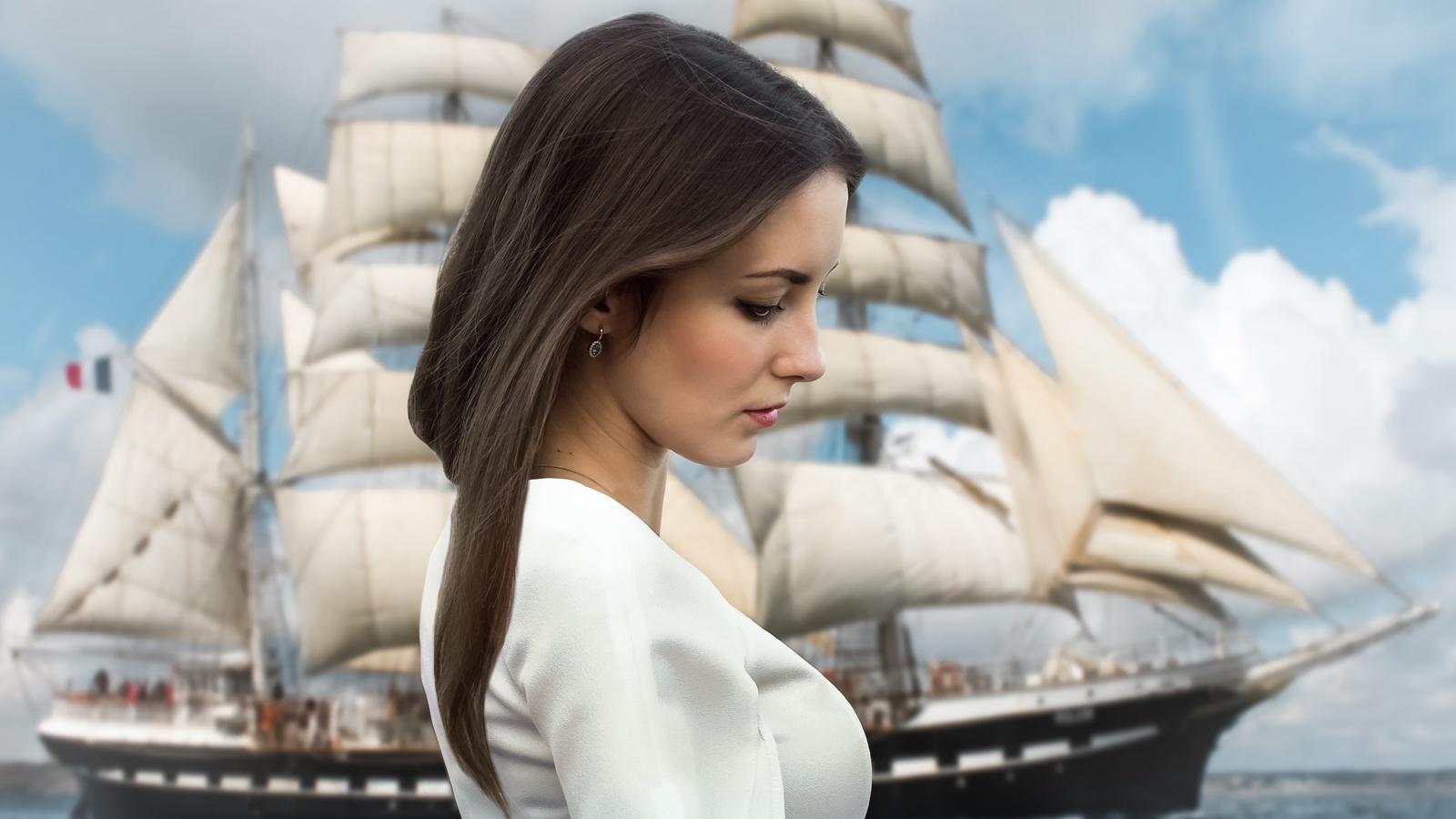 небо, модель, облака, профиль, вода, волосы, девушка, лицо, море, портрет, корабль
