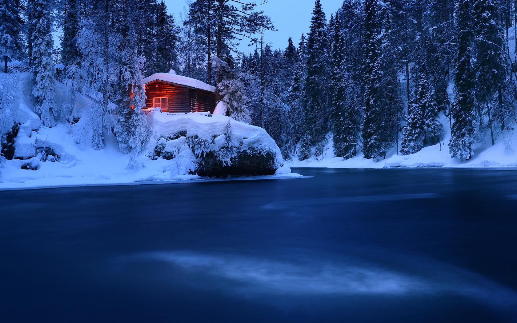 природа, пейзаж, зима, лес, снег, деревья, река, избушка, хижина, финляндия, максим евдокимов, oulankajoki river, река оуланкайоки, oulanka national park, национальный парк оуланка