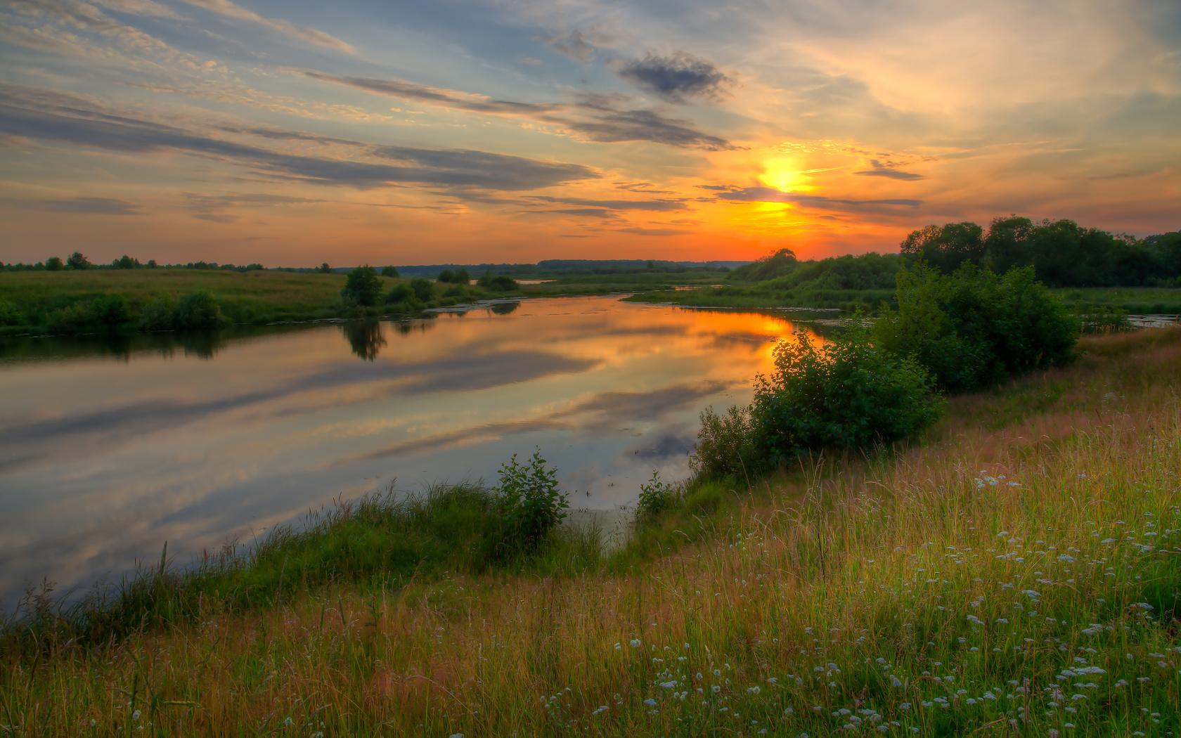 закат, река, трава, природа