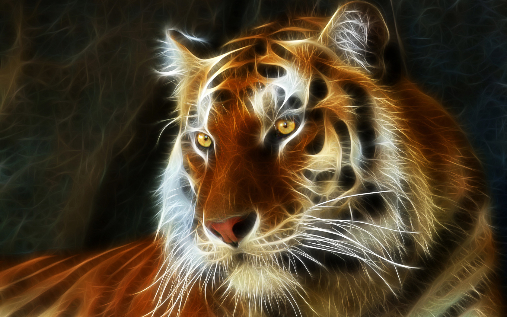 амурский, тигр, кошка, взгляд, рисование