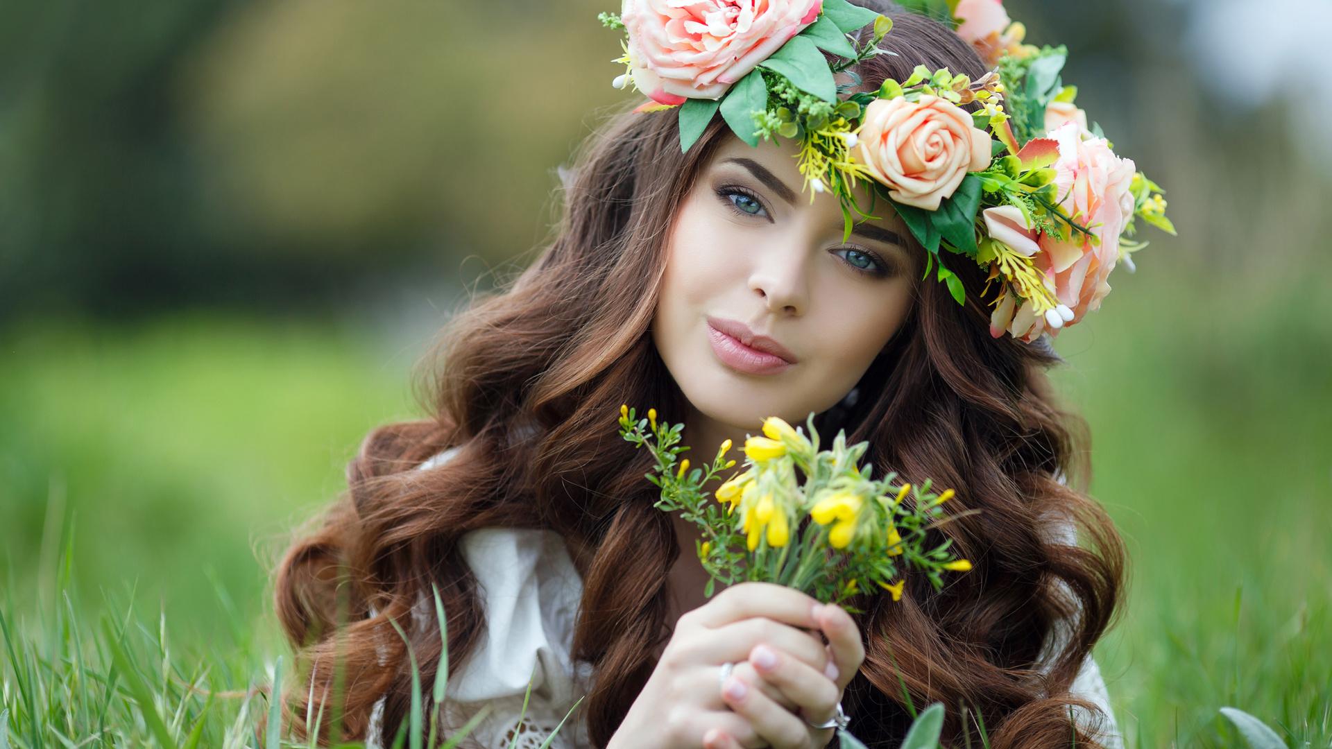 красивая, девушка, венок, цветы