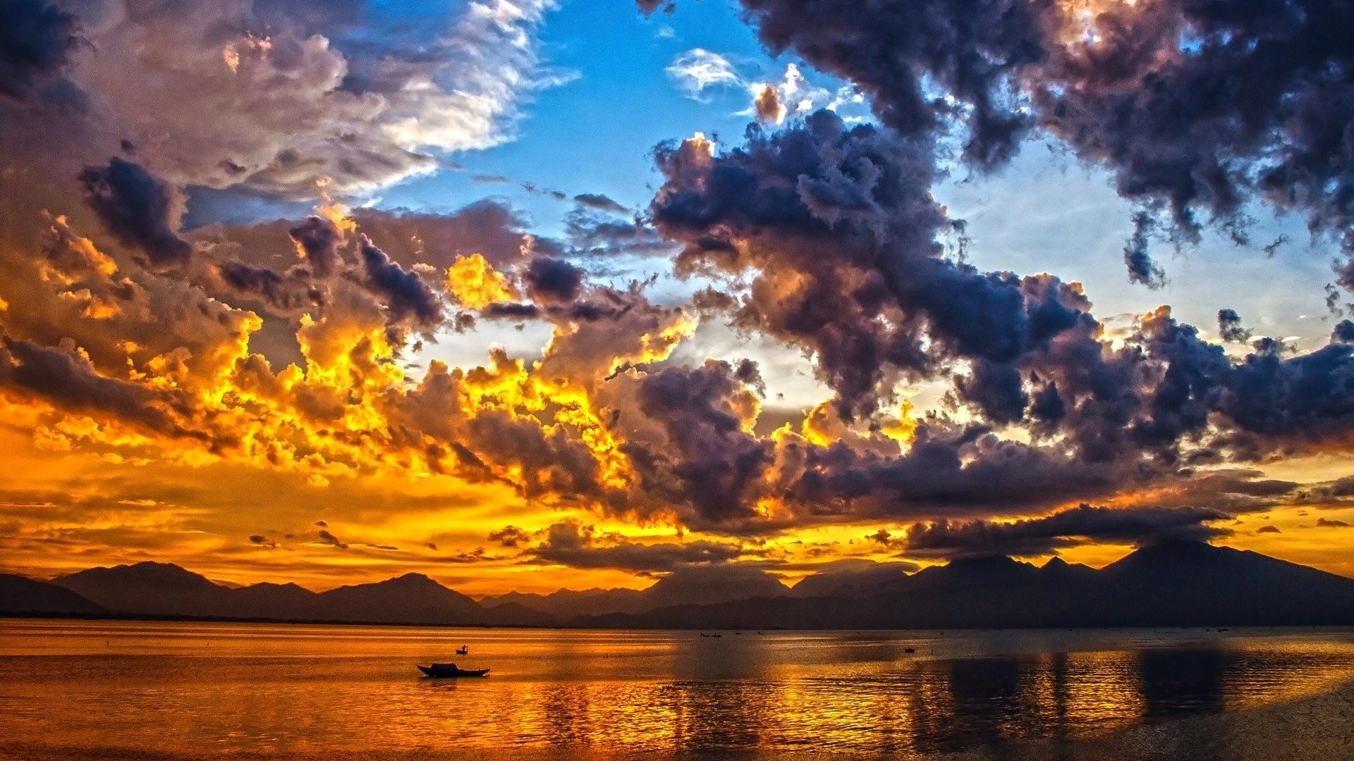 небо, облака, рыбаки, природа, красота