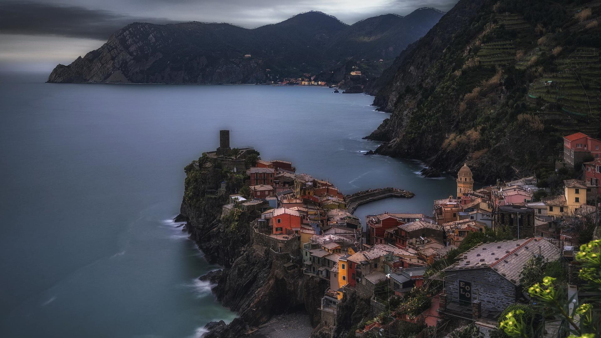 море, горы, городок, италия