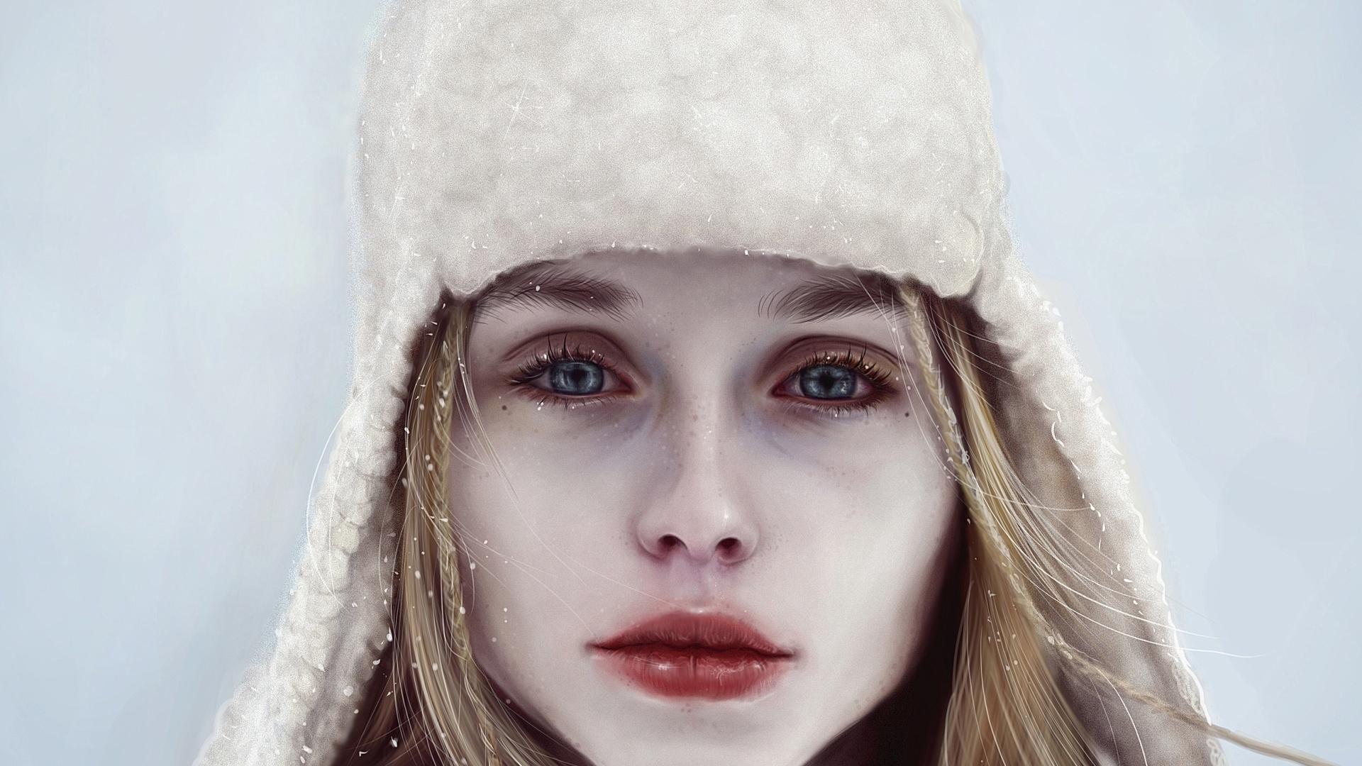девушка, арт, зима, взгляд