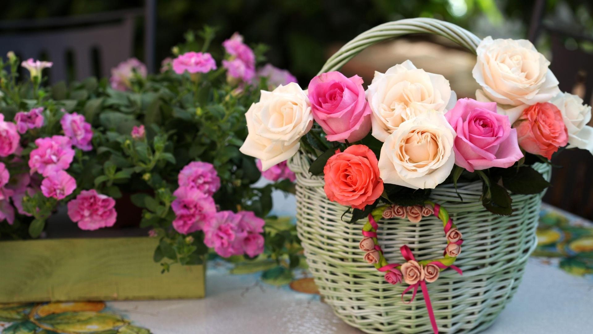 корзина, розовые, белые, розы