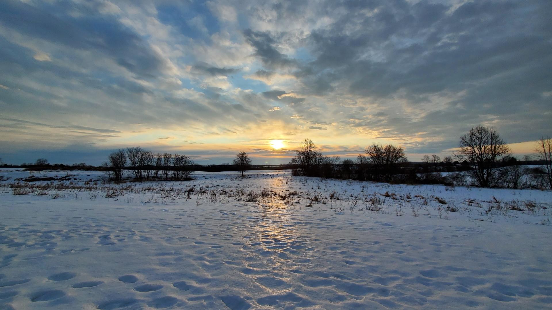 зима, снег, пейзаж, восход