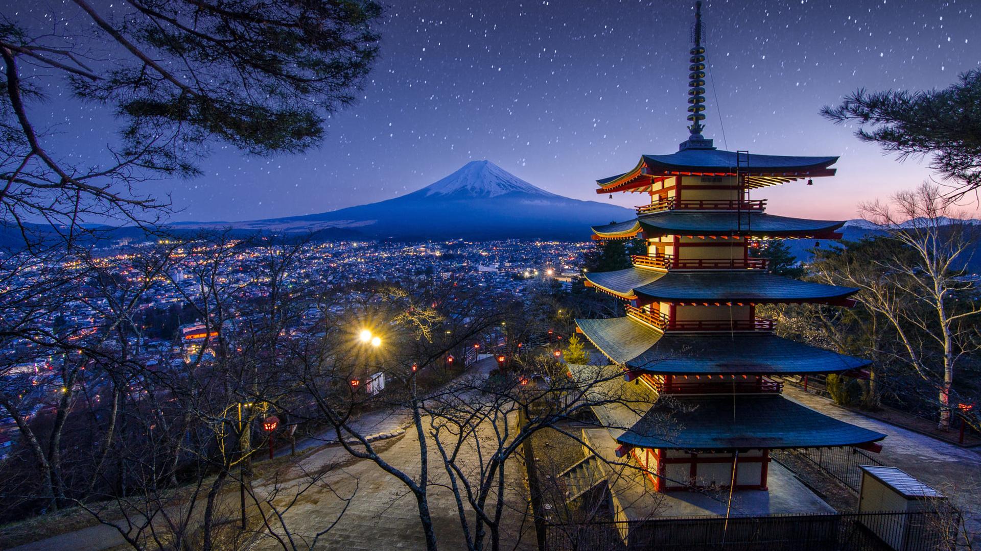 небо, деревья, пейзаж, ночь, природа, гора, весна, звёзды, вулкан, Япония, освещение, храм, пагода, фудзияма