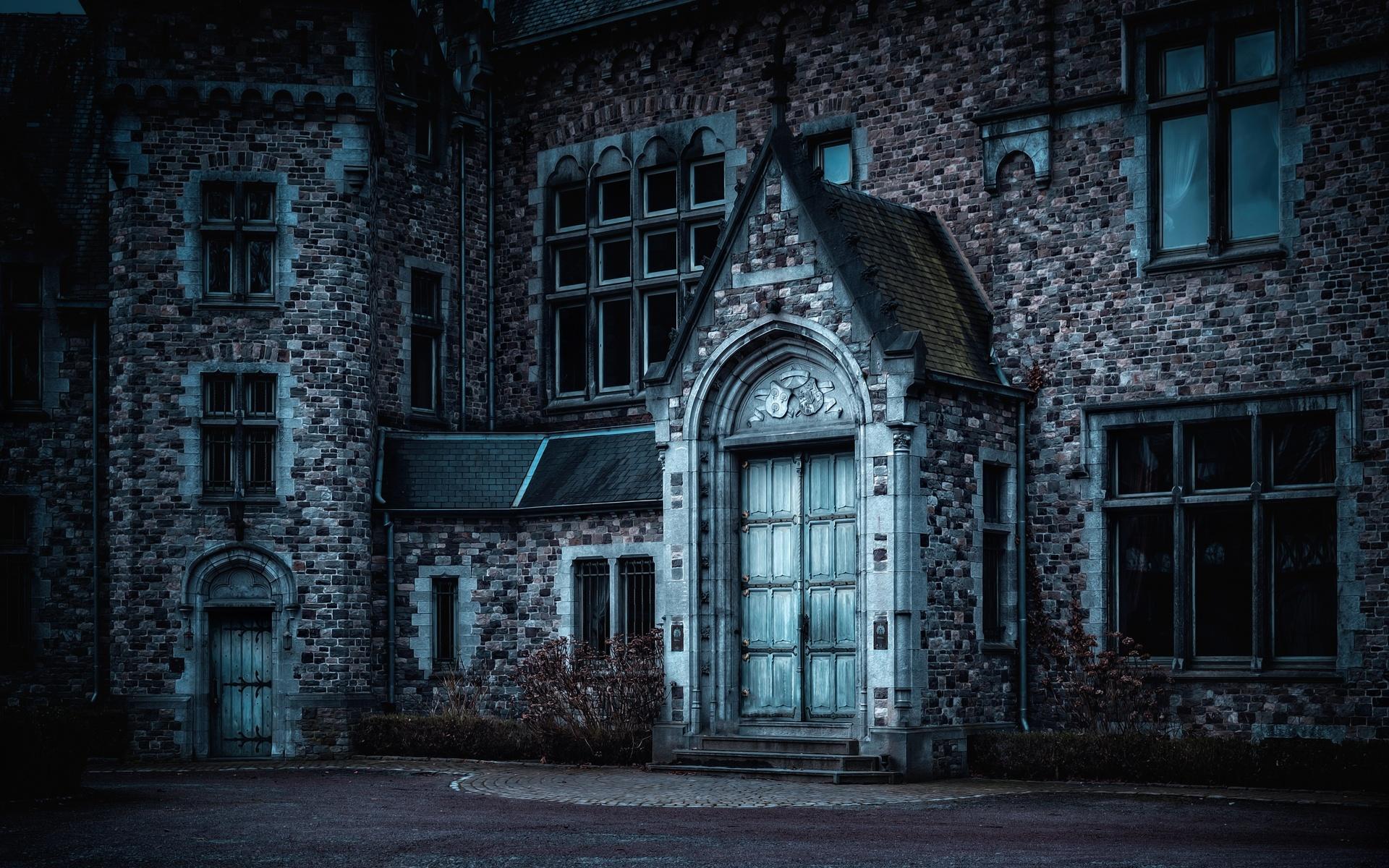 ночь, церковь, темный, сумерки
