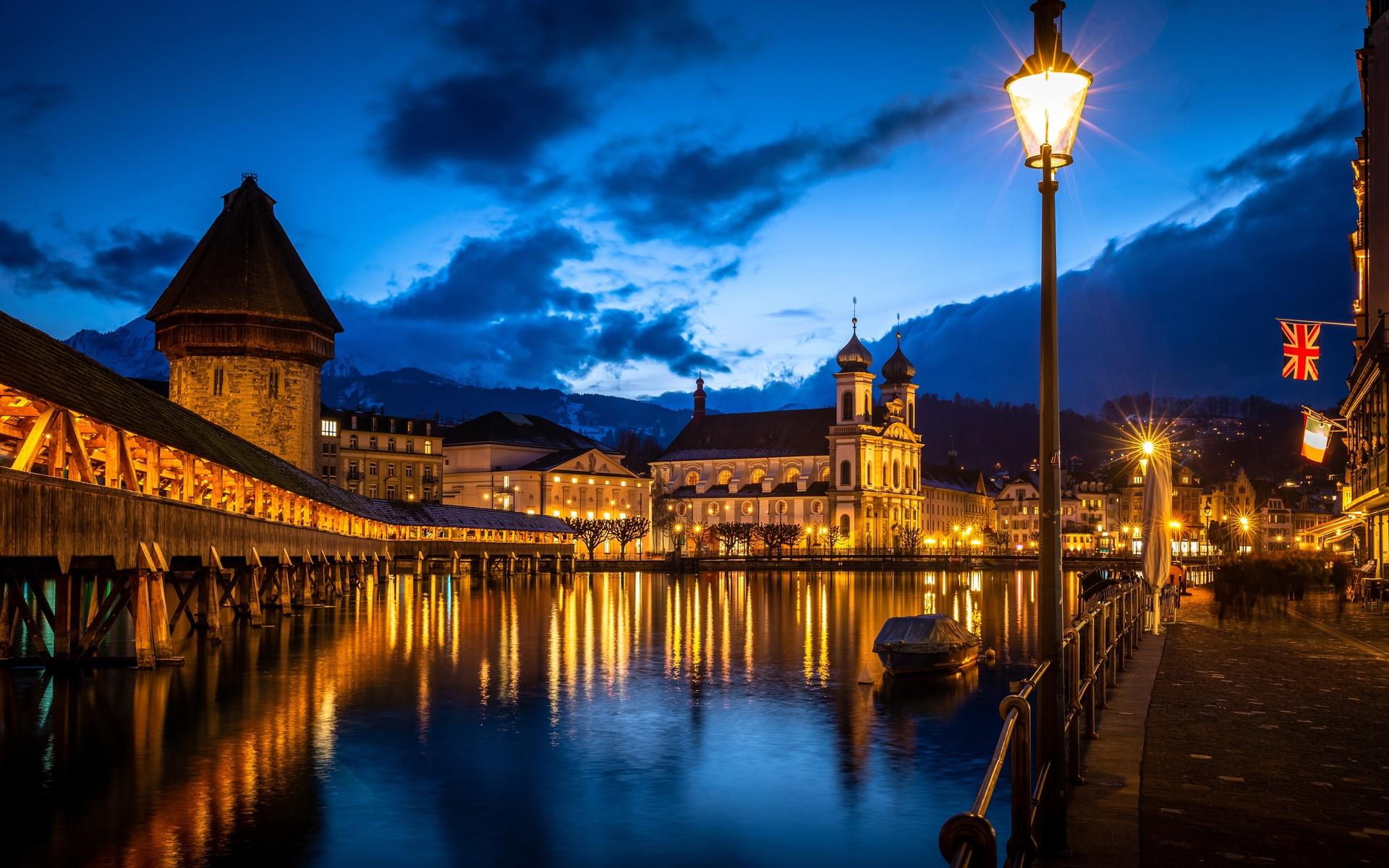 река, мост, дома, церковь, швейцария, lucerne, wasserturm, reuss river, ночь, уличные фонари, башня, город
