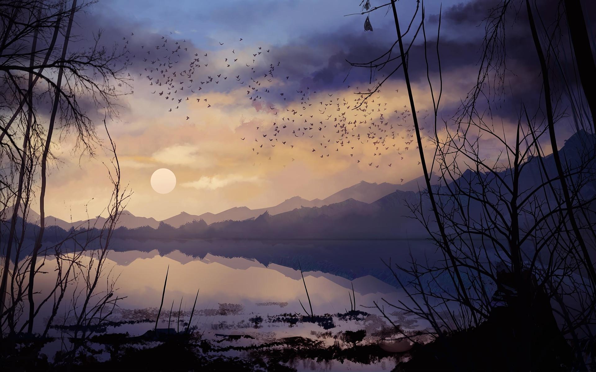 ночь, луна, арт, птицы, ветки