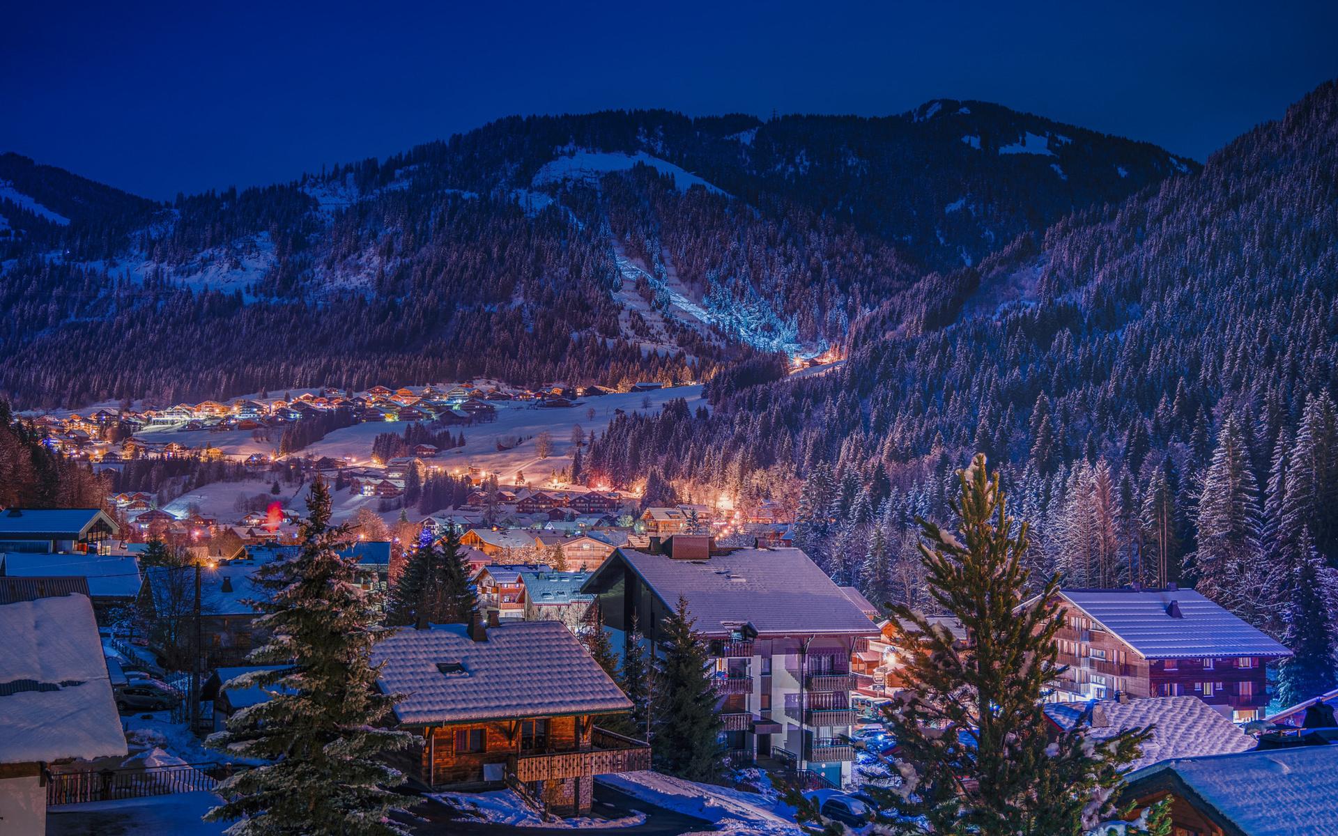 ночь, городок, зима, снег