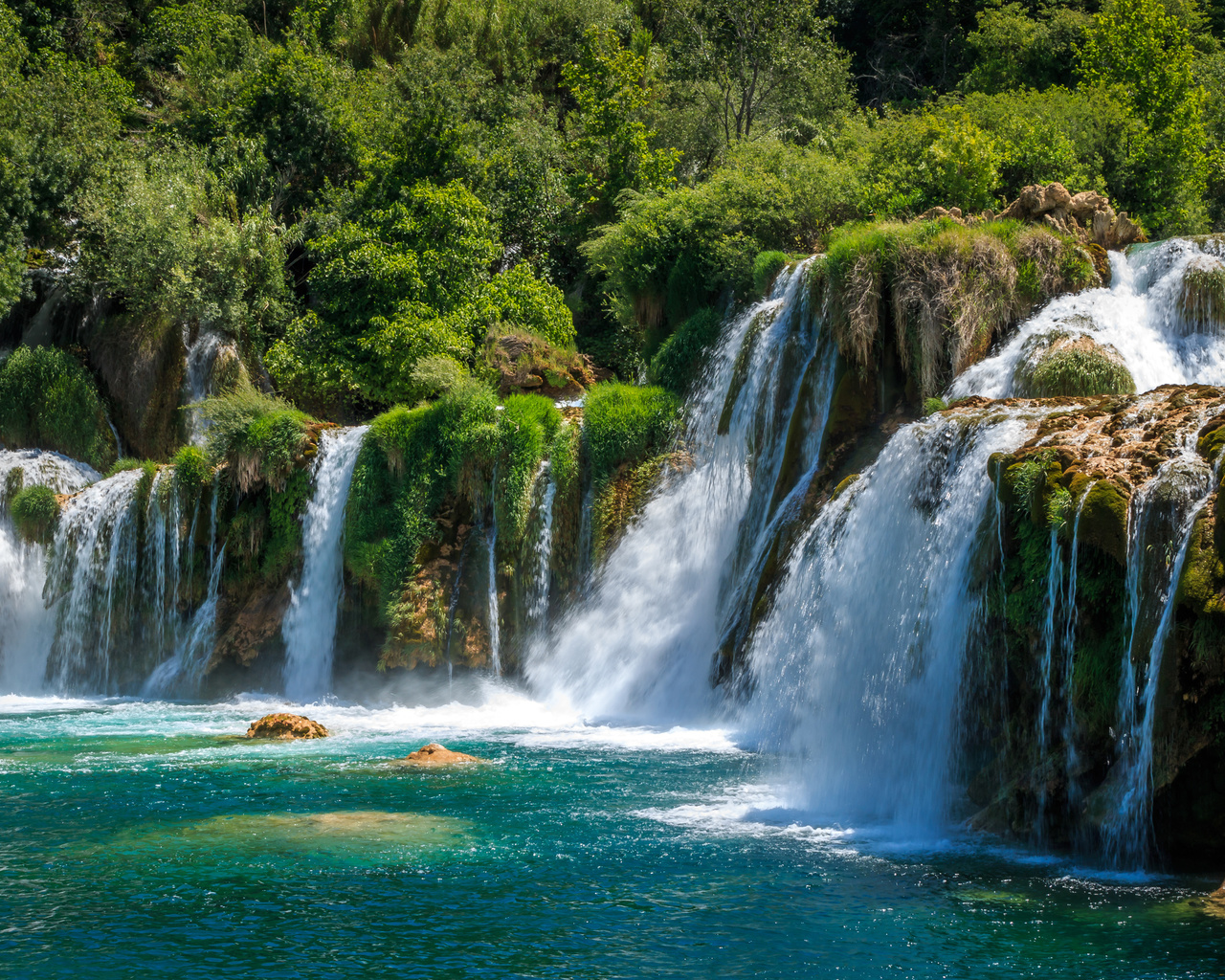 хорватия, парк, водопады, krka, national park, скала, природа