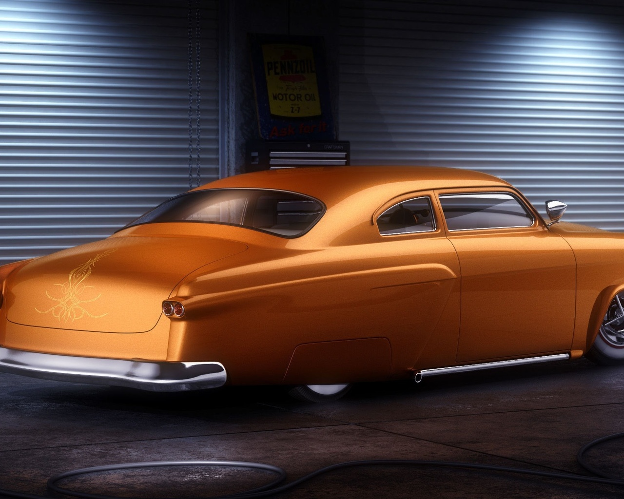 american, classic, car, custom