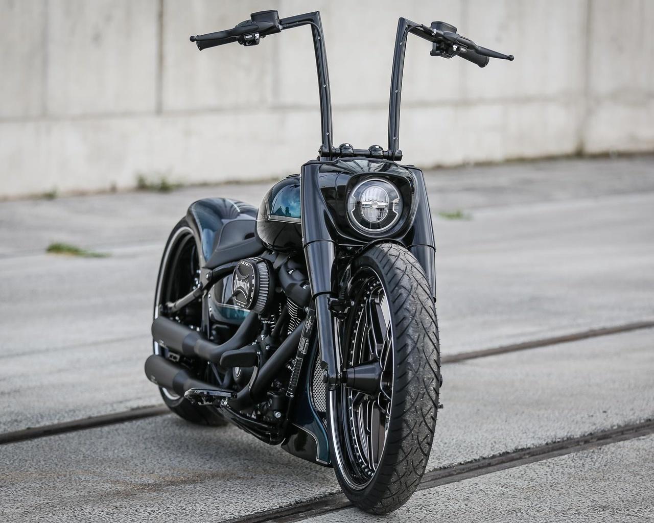 harley davidson, custom, thunderbike, fat boy, black apple
