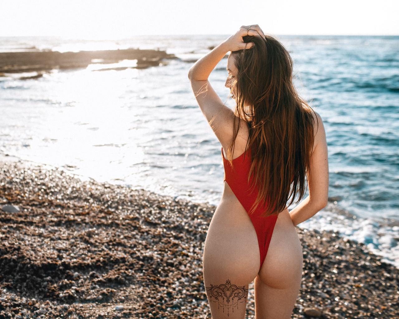 women, ass, tattoo, back, one-piece swimsuit, long hair, sea, women outdoors
