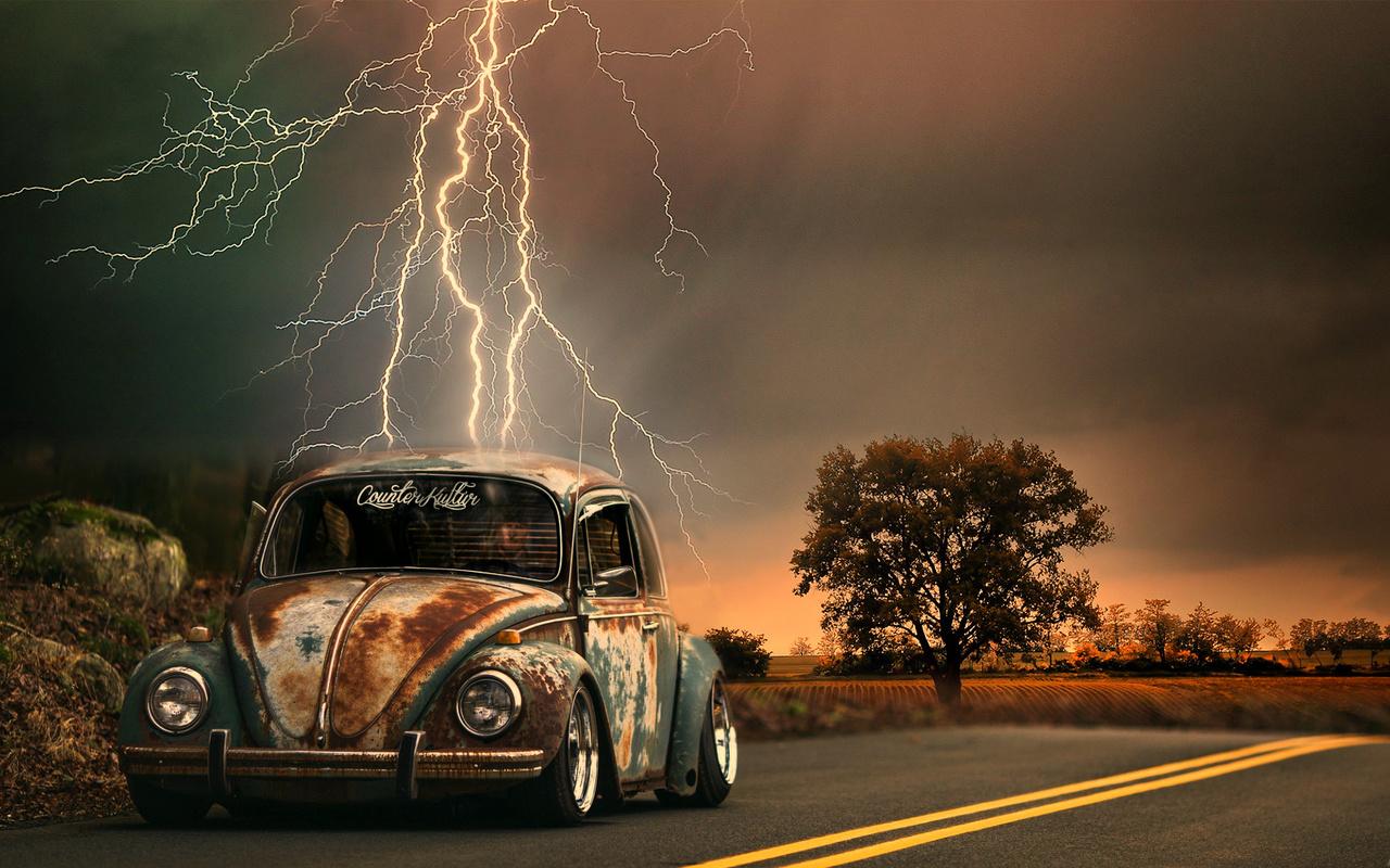дорога, авто, ретро, гроза