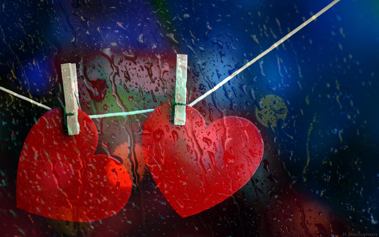 сердечки, стекло, капли