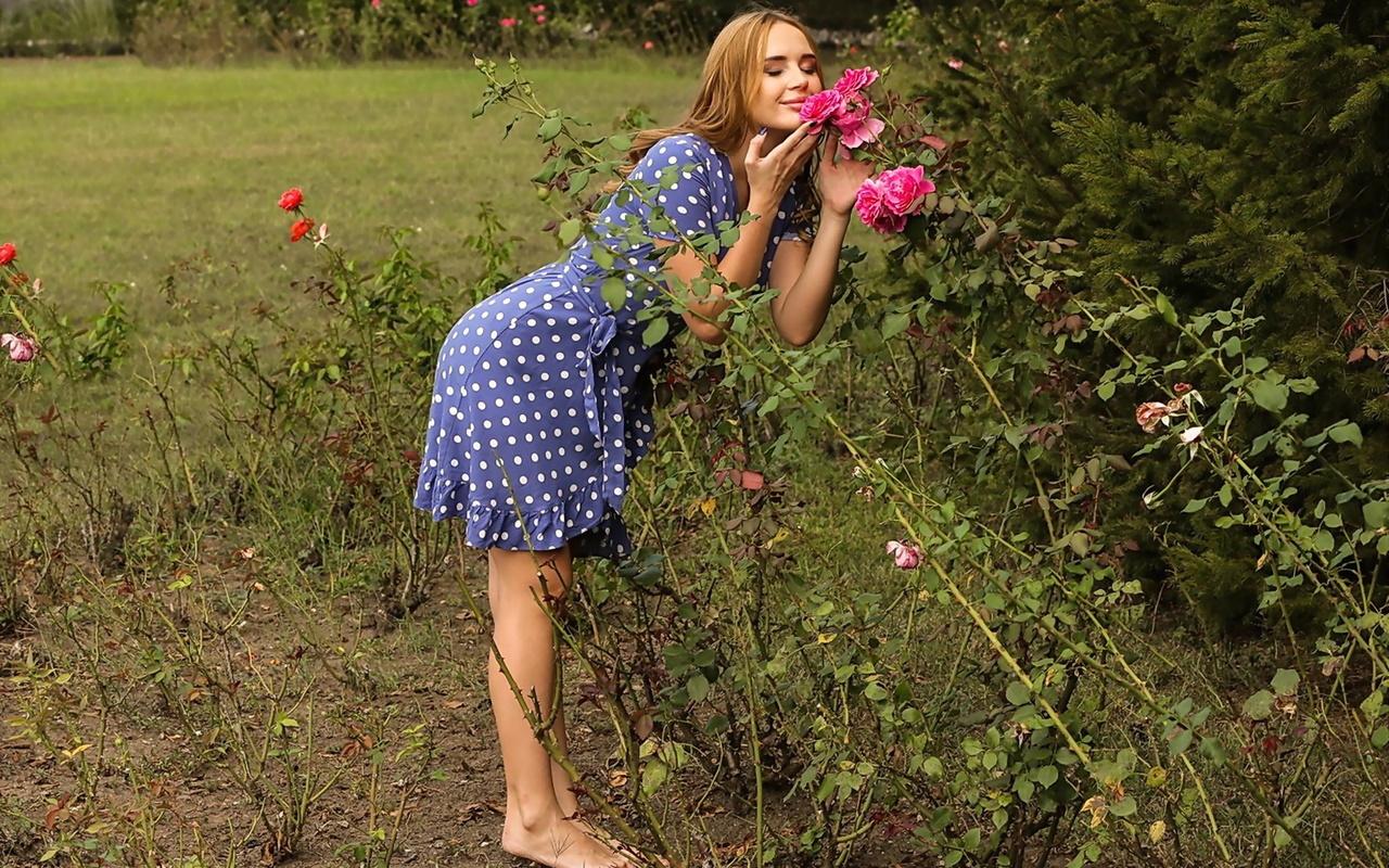 kaisa nord, девушка, поле, розы