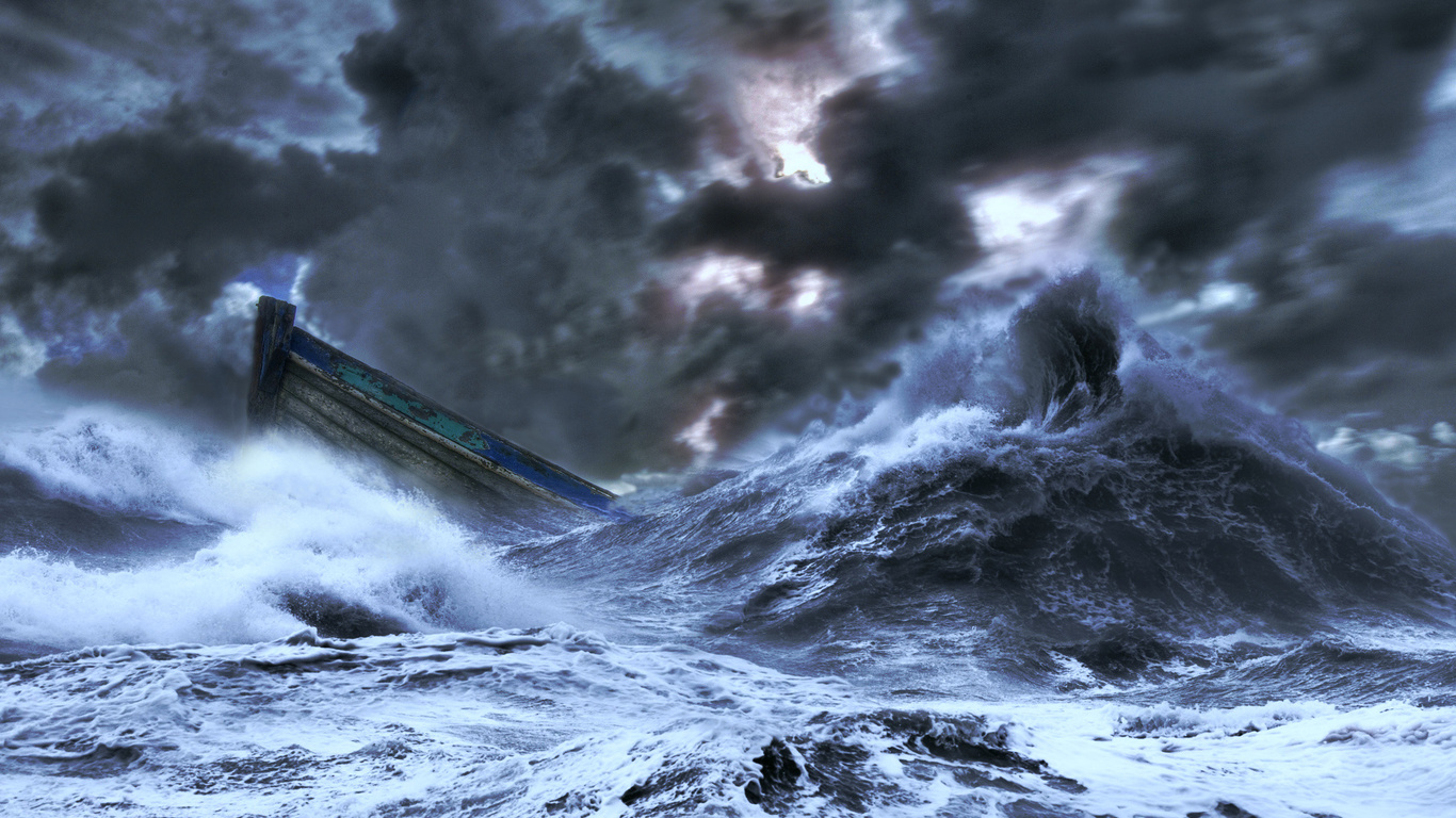 шторм, стихия, шлюпка