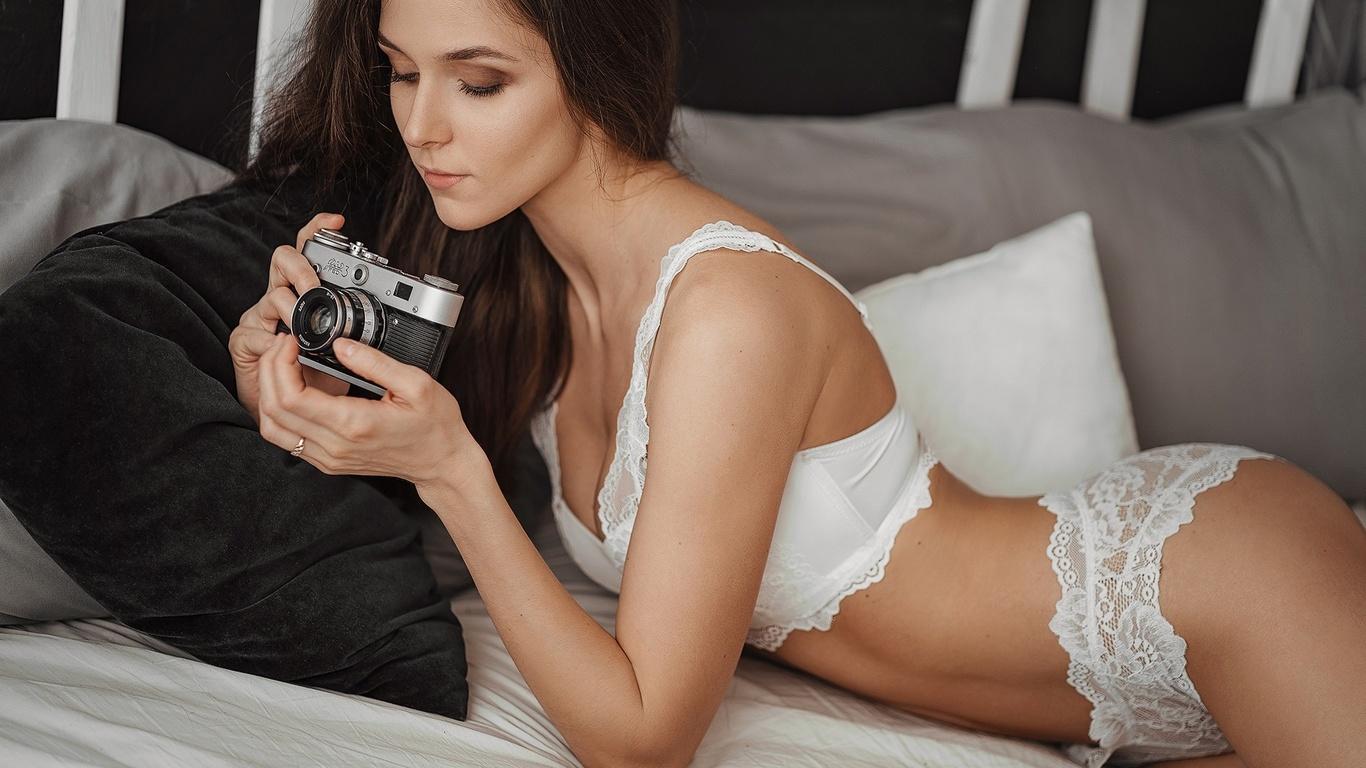 women, brunette, white lingerie, in bed, pillow, camera, women indoors, belly, sergey freyer