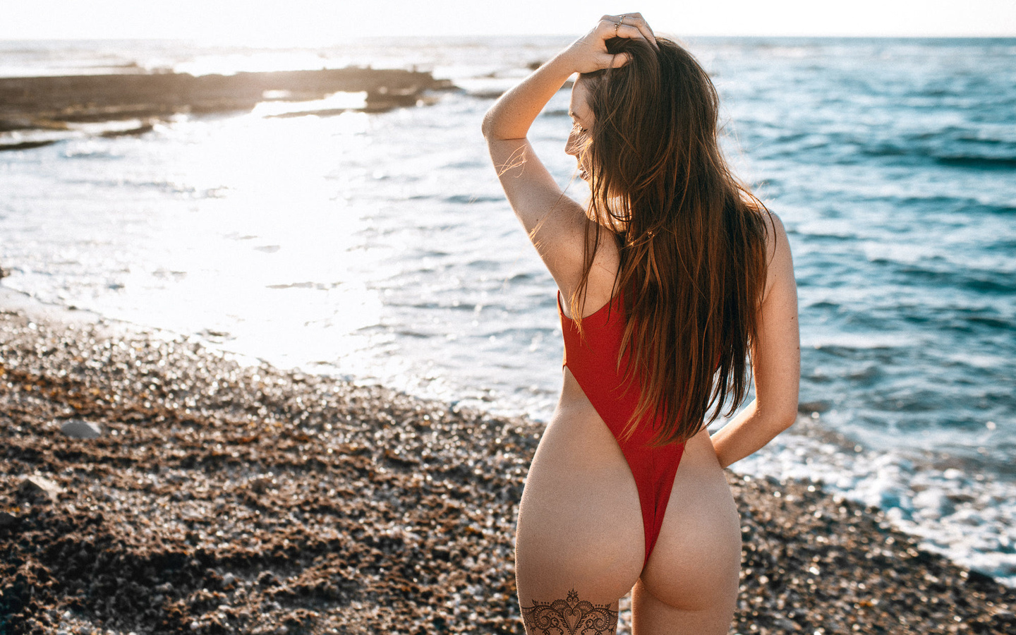women, ass, tattoo, back, one-piece swimsuit, long hair, sea, women outdoors