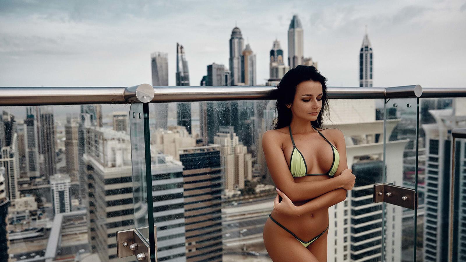 women, balcony, bikini, belly, brunette, arms crossed, sky, building, black hair, glass, women outdoors