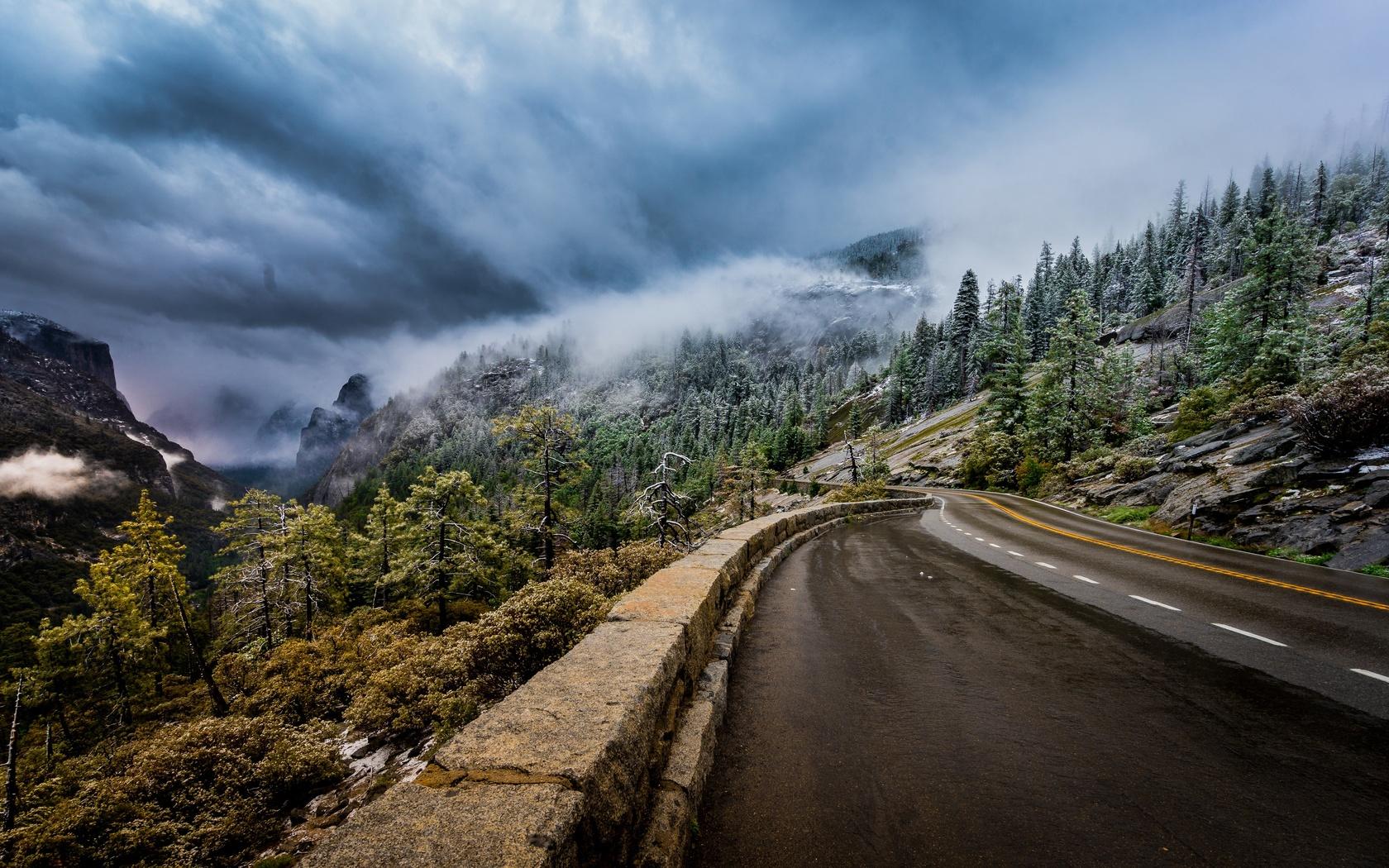 дорога, горы, пейзаж, sierra nevada, облака, деревья, йосемити, туман, калифорния, природа