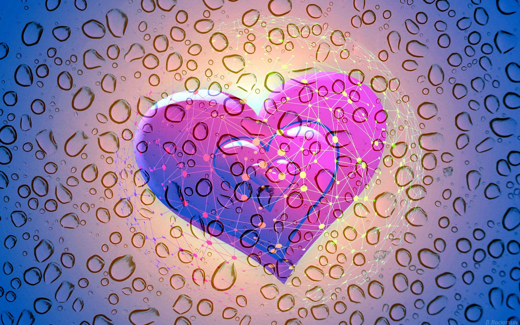 капли, стекло, сердечки