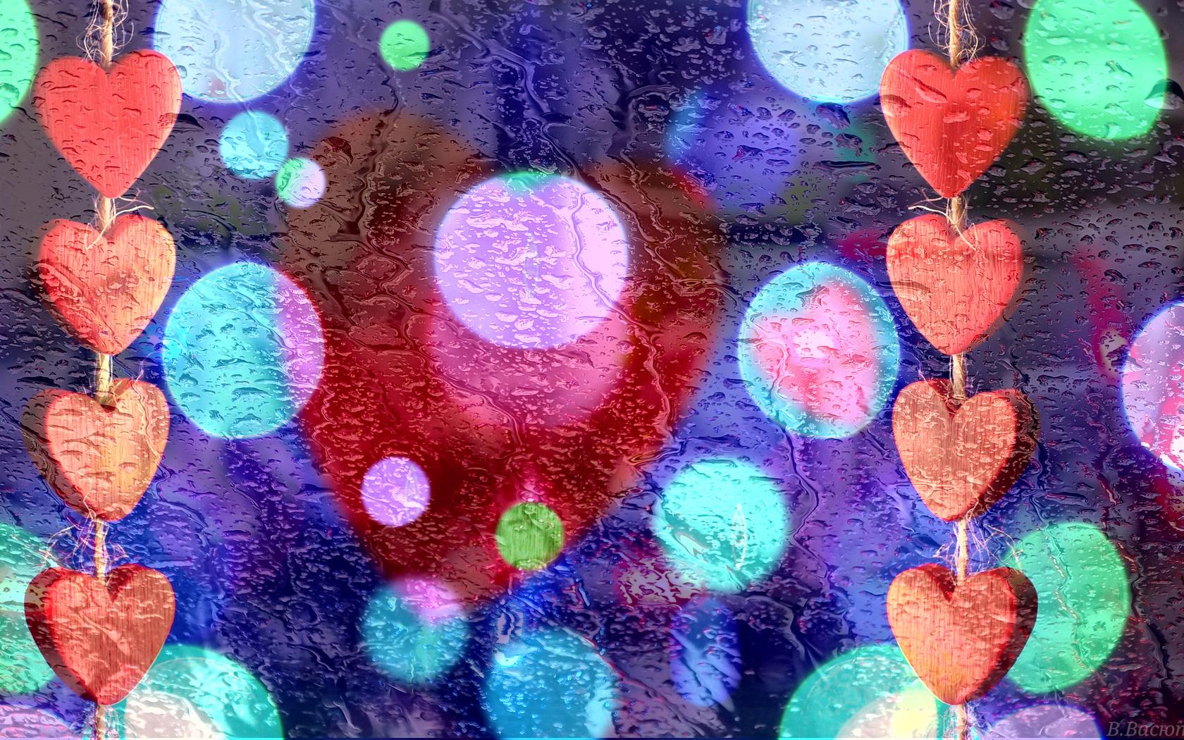стекло, капли, дождь, сердечки