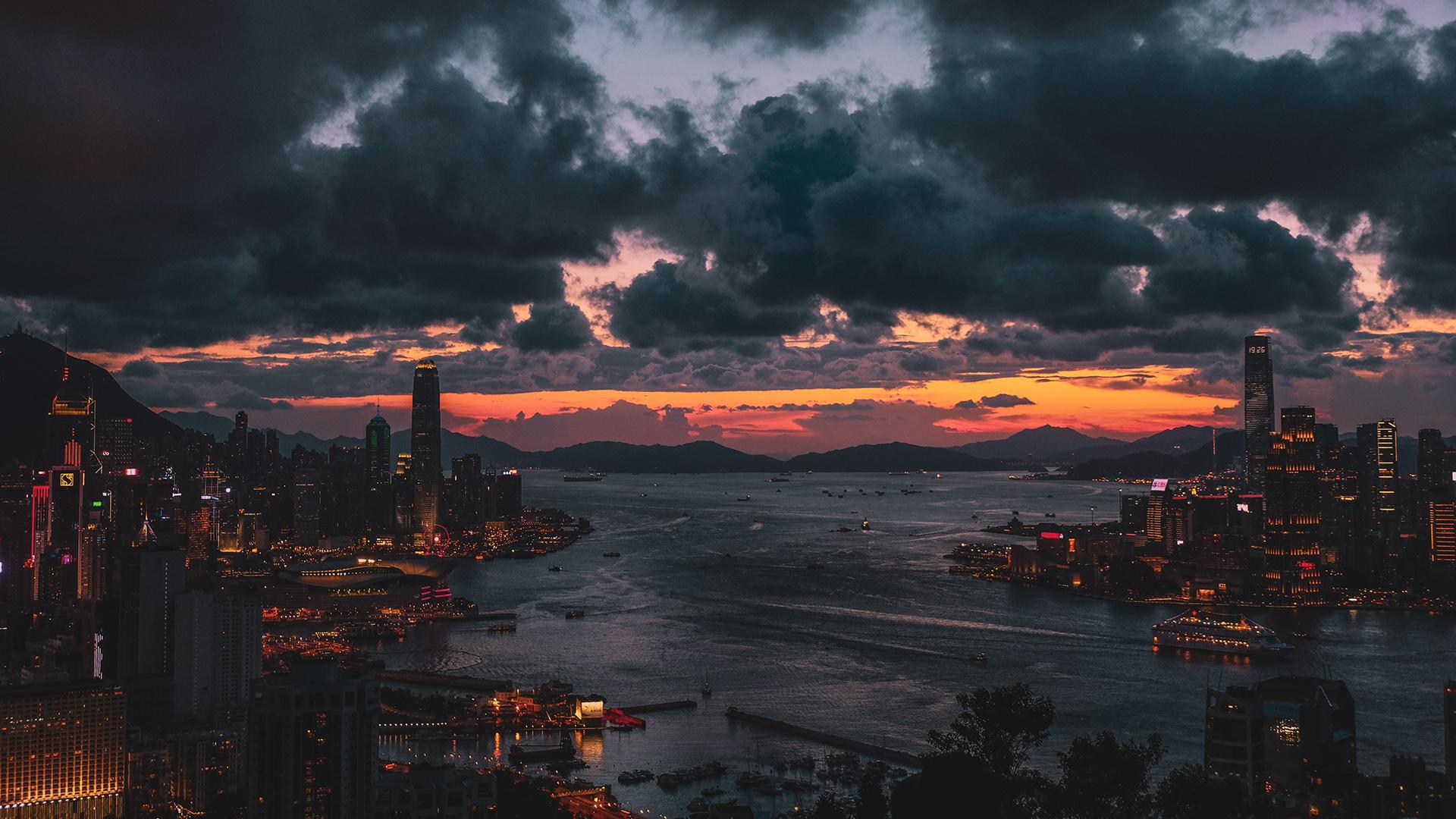 гонконг, закат