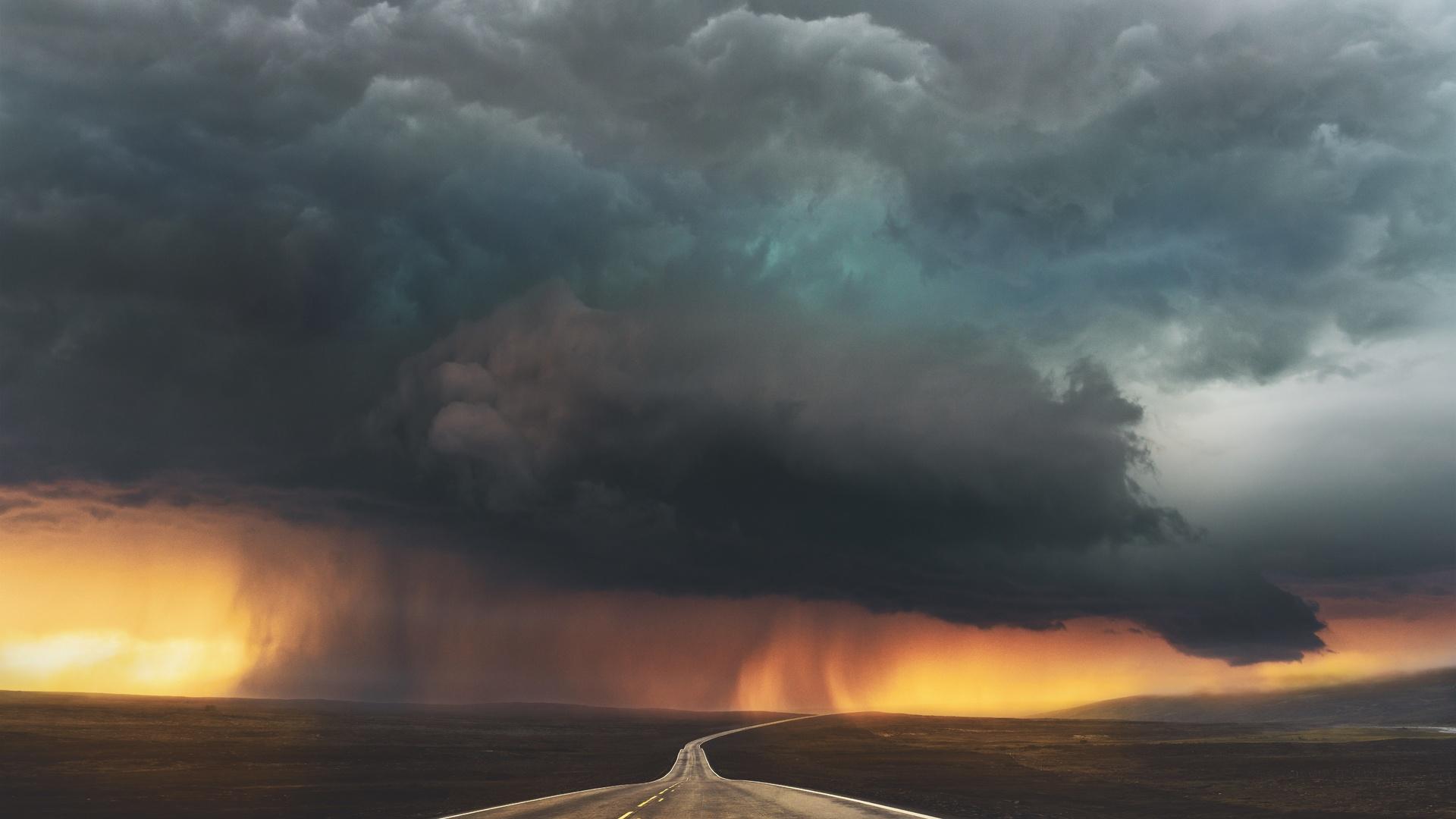 пейзаж, шторм, дорога, небо, тучи