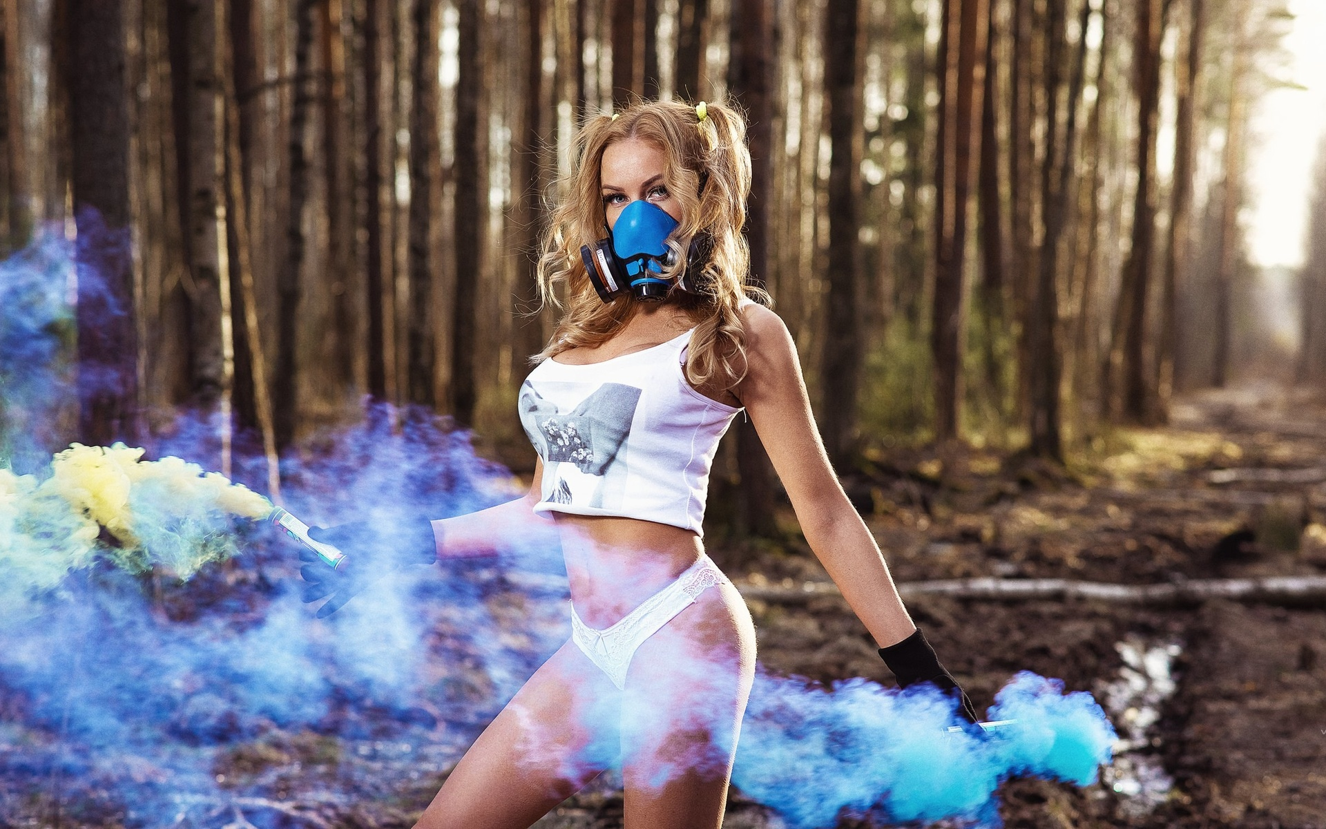 women, gas masks, trees, white panties, smoke, forest, women outdoors, nikolas verano, pigtails, tank top, brunette, belly, gloves