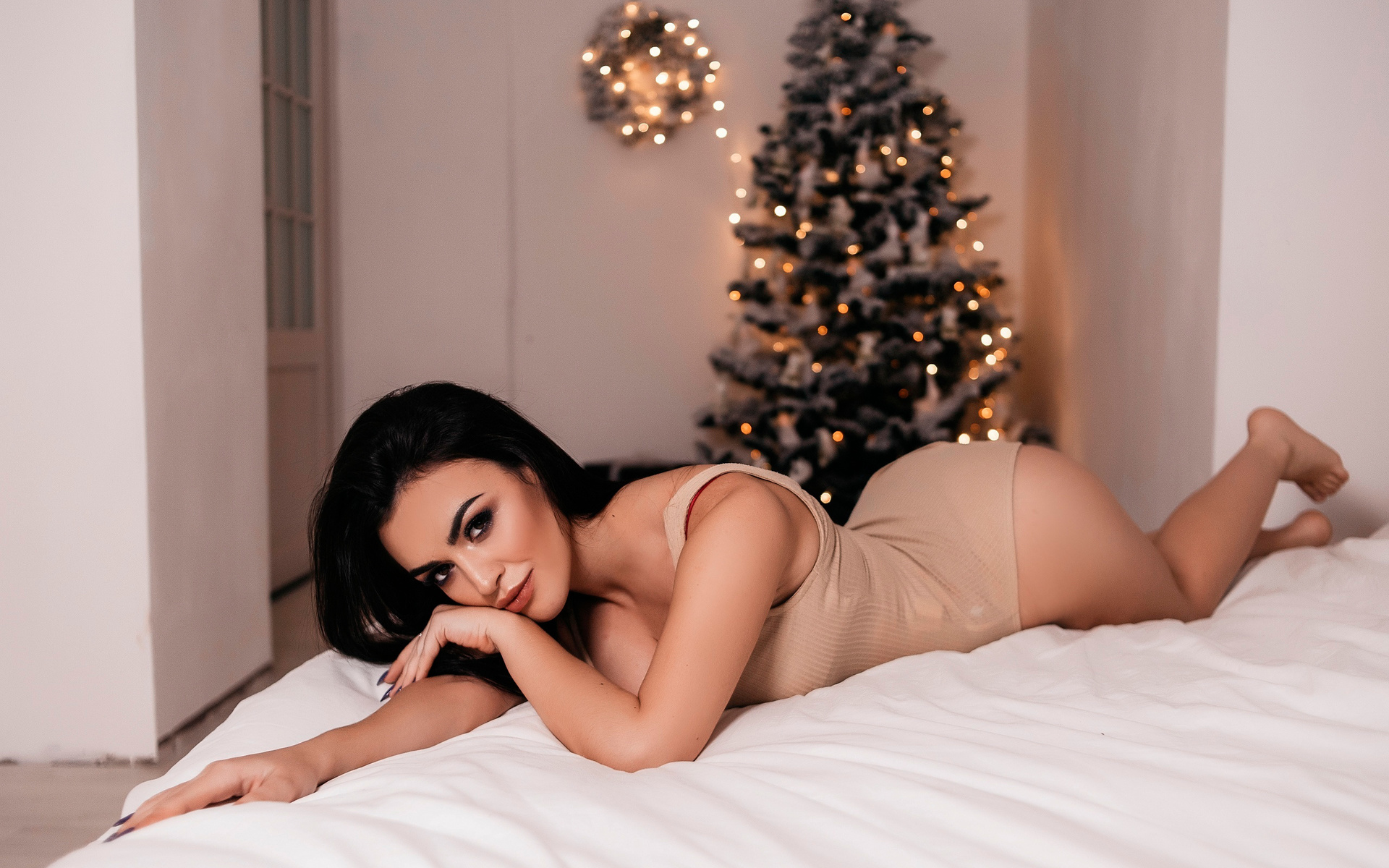 women, christmas tree, ass, bodysuit, in bed, smiling, women indoors, lying on front, christmas, brunette