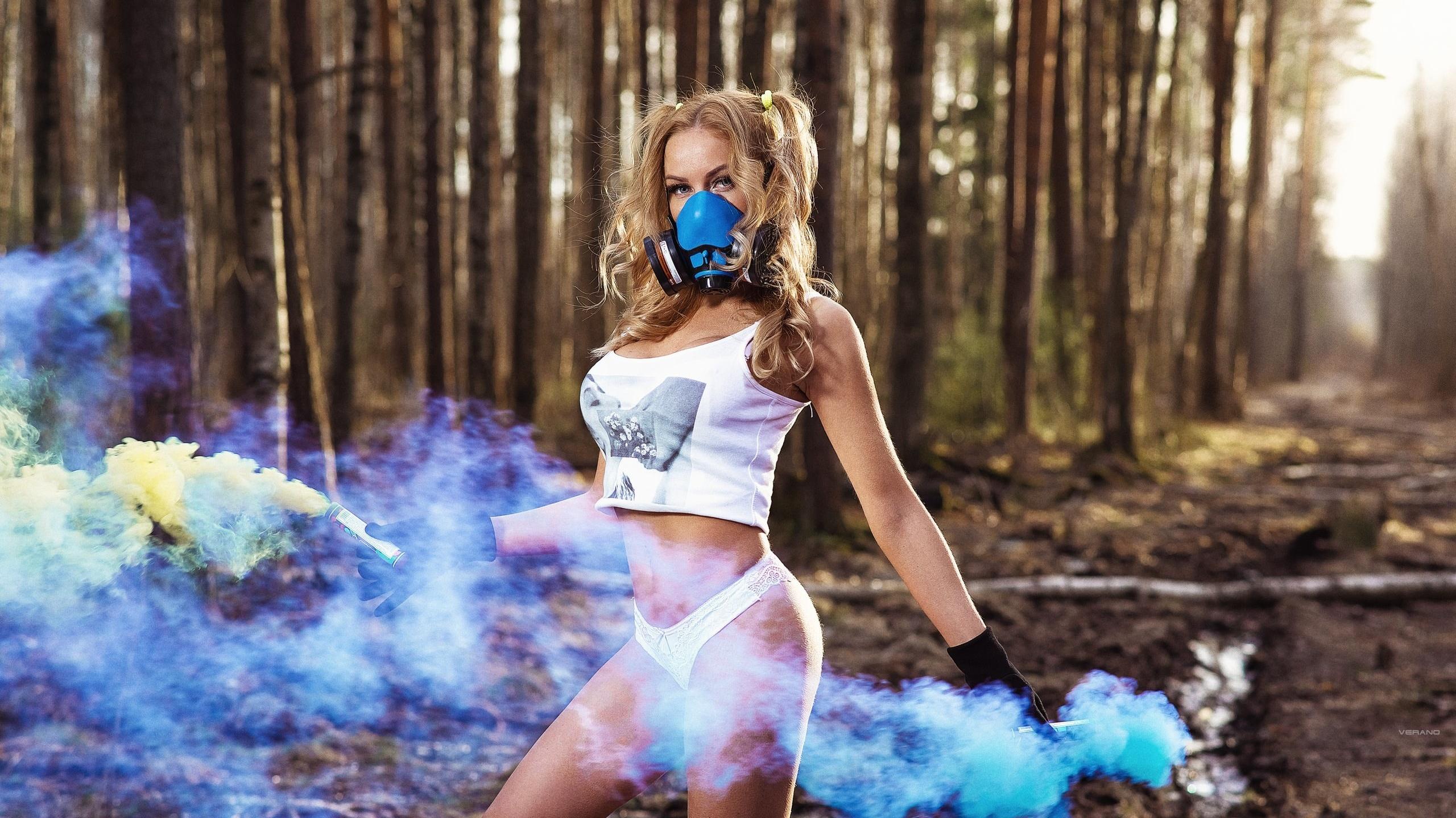 women, gas masks, trees, white panties, smoke, forest, women outdoors, nikolas verano, pigtails, tank top, brunette, belly, gloves