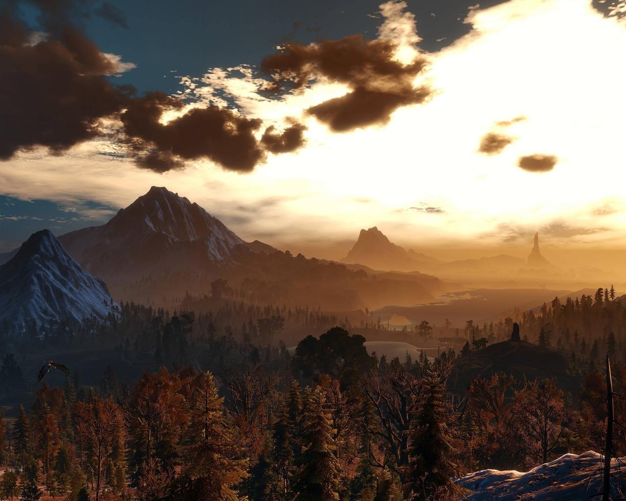закат, деревья, горы, птицы, облака