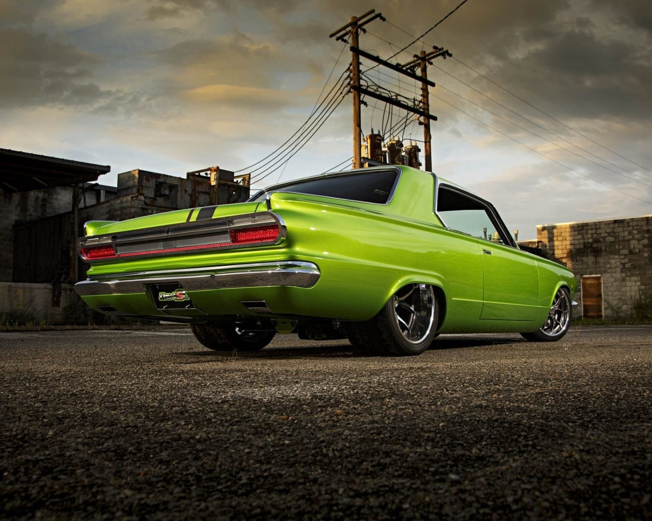 dodge, dart, custom, pro touring, зеленый,улица,фон