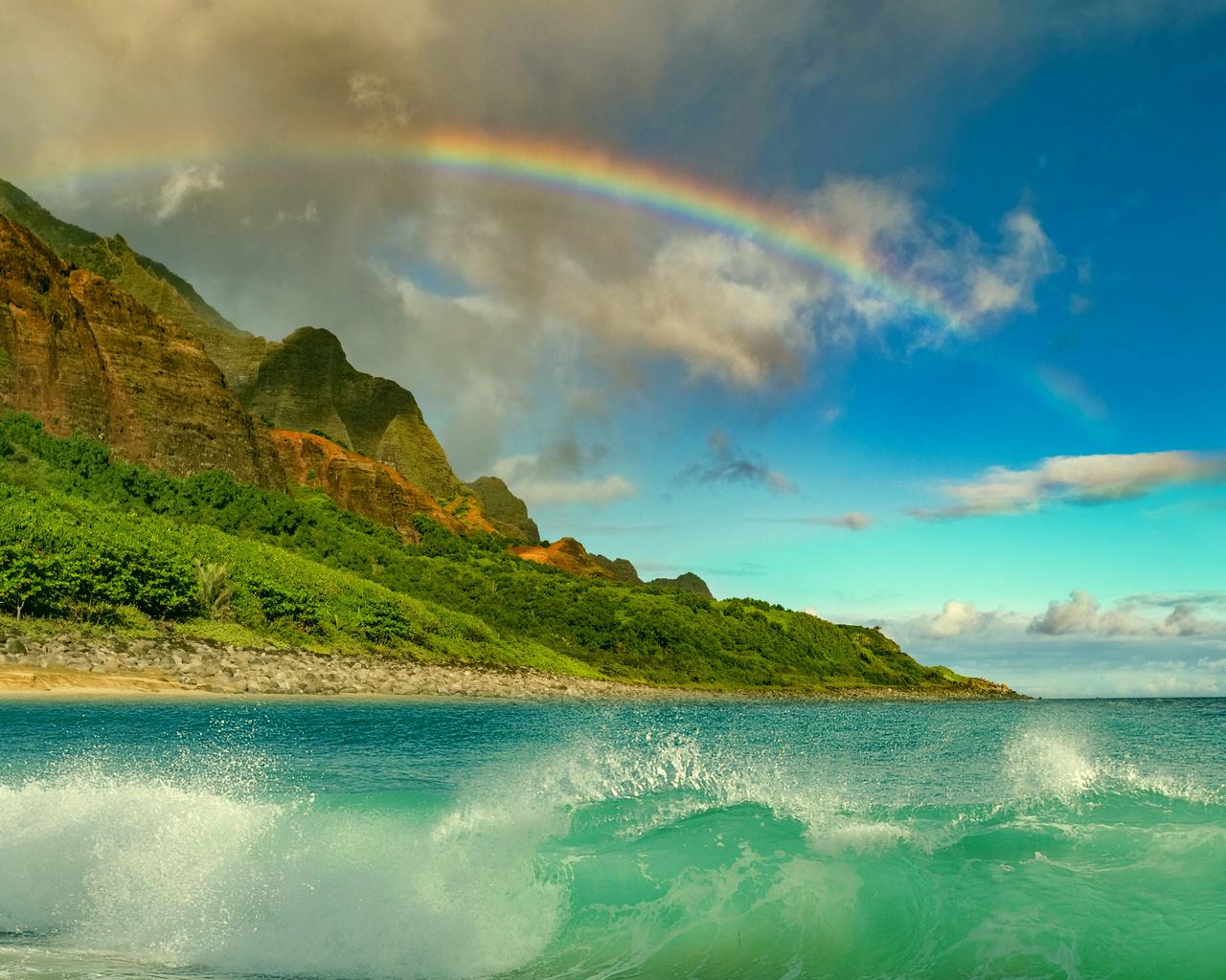океан, прибой, радуга