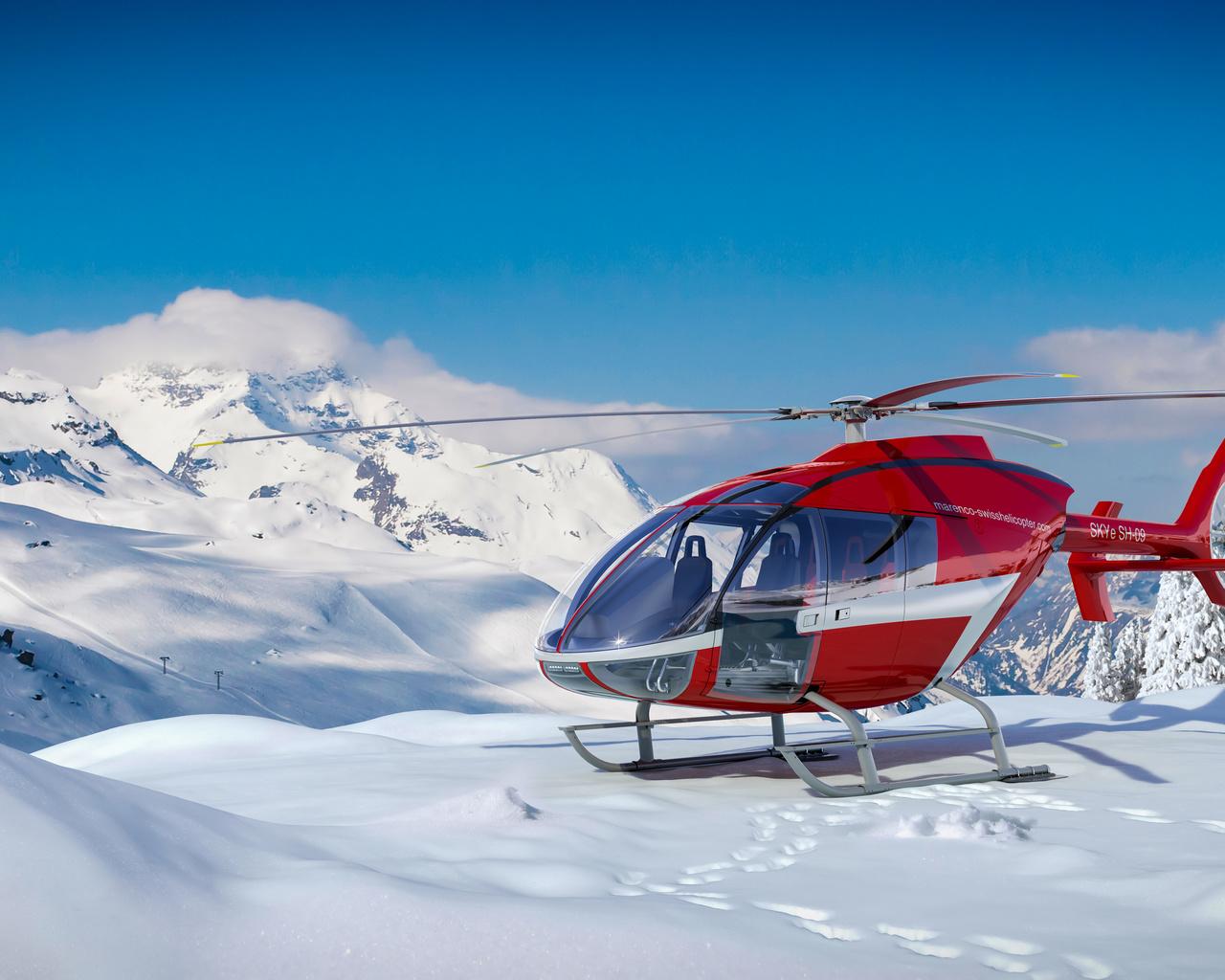 вертолет, горы, зима, швейцария