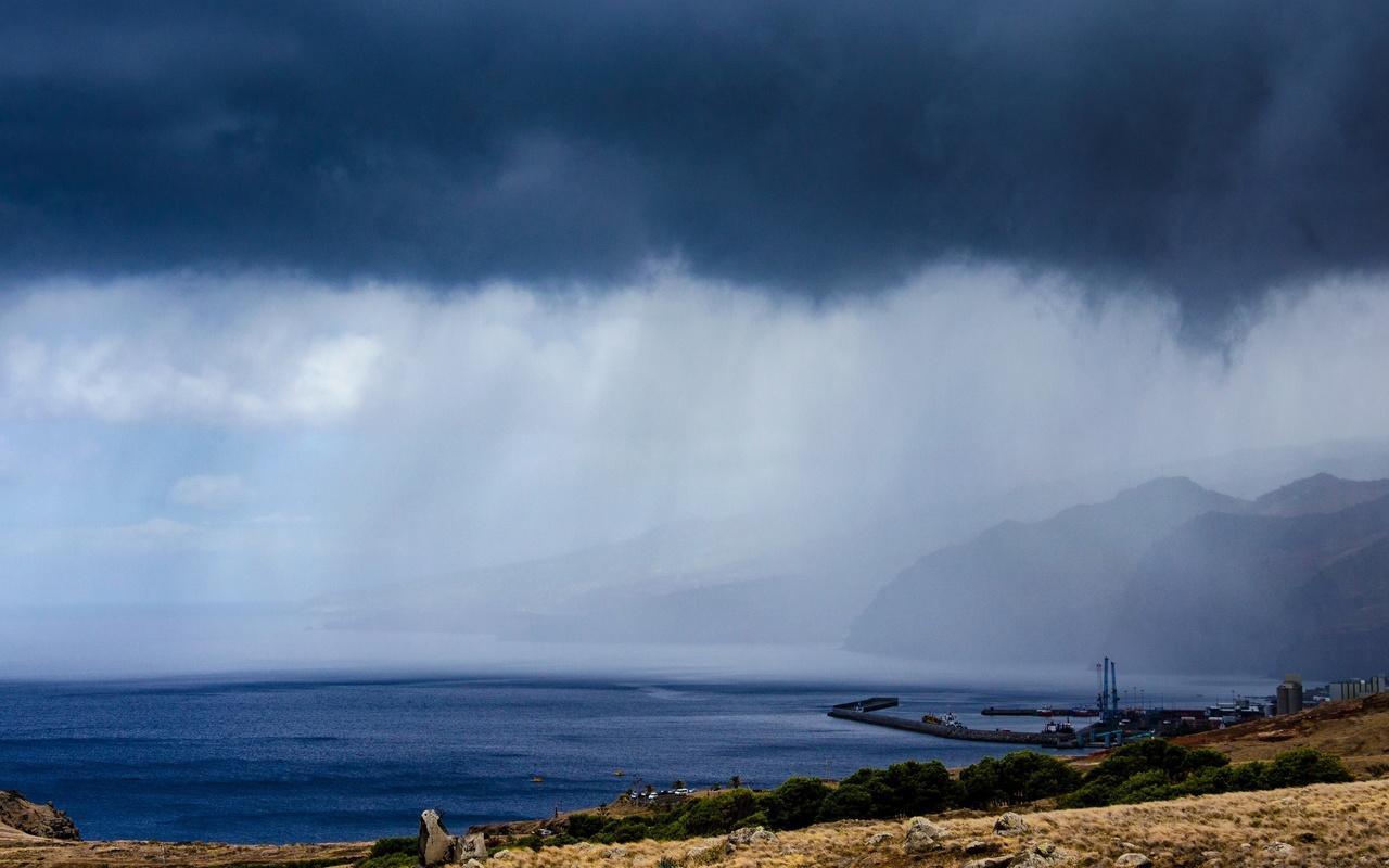 мадейра, португалия, море, побережье, горы, облака