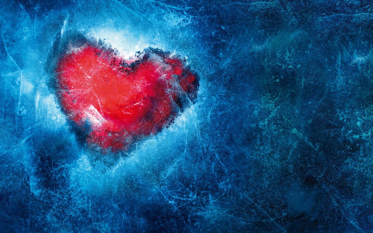 сердце, синий, лёд
