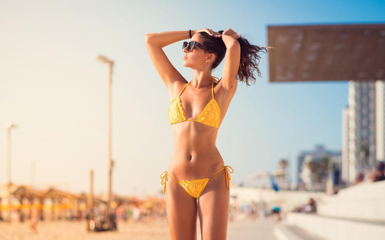 beach, beautiful, girl, model, cute, brunette, pretty, glasses, sun, earrings, woman, perfect, sand, panties