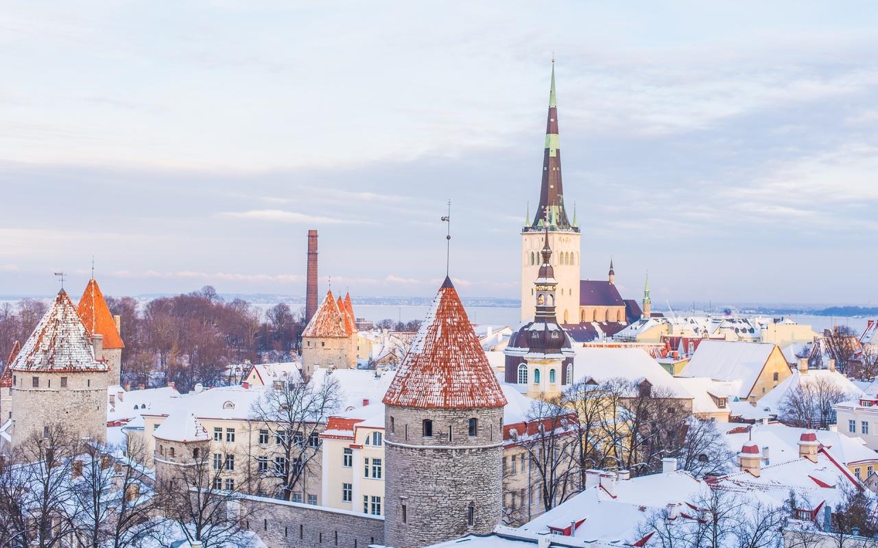 таллин, эстония, церковь, зима, дома, снег, город