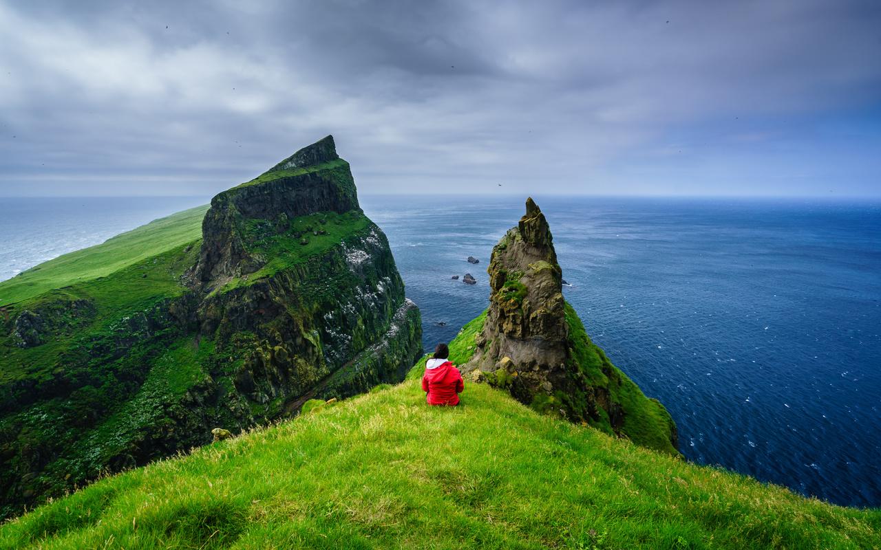 дания, остров, океан, mykines, faroe islands, скала, горизонт, природа