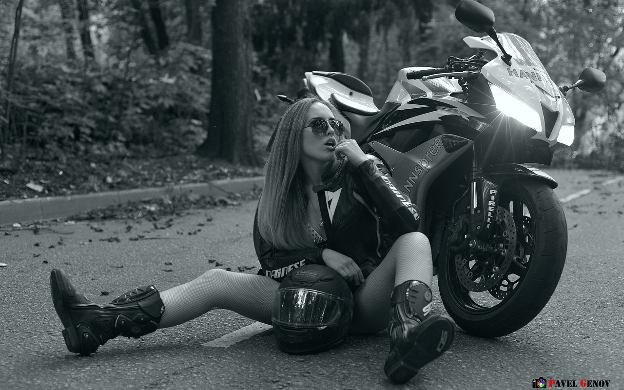 мотоцикл, шлем, байкерша