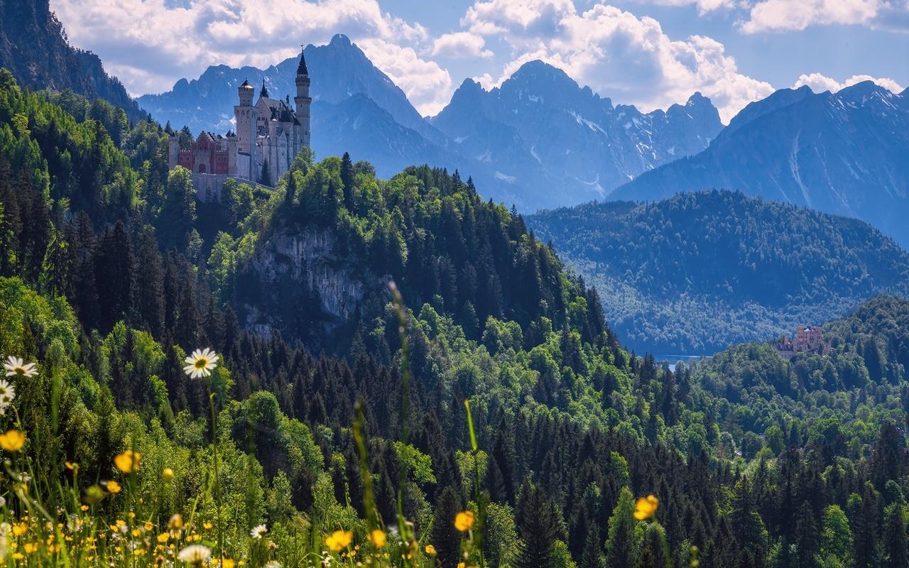 германия, горы, замок, красиво
