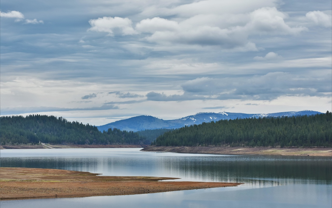 холм, озеро, берег, лес