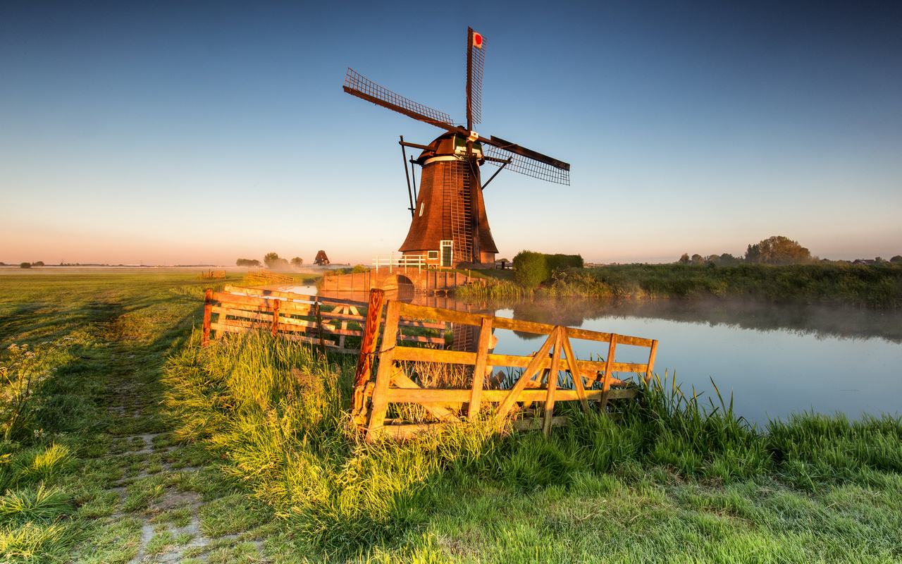 нидерланды, утро, поля, alblasserwaard, streefkerk, забор, туман, мельница, природа