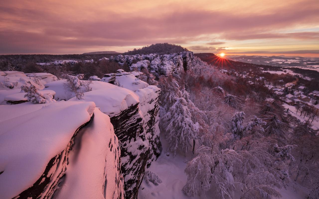 горы, Чехия, закат, деревья, пейзаж, природа, скалы