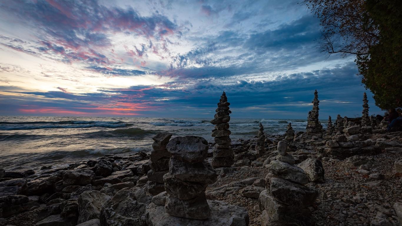 озеро, побережье, камни, whitefish bay, lake michigan, природа