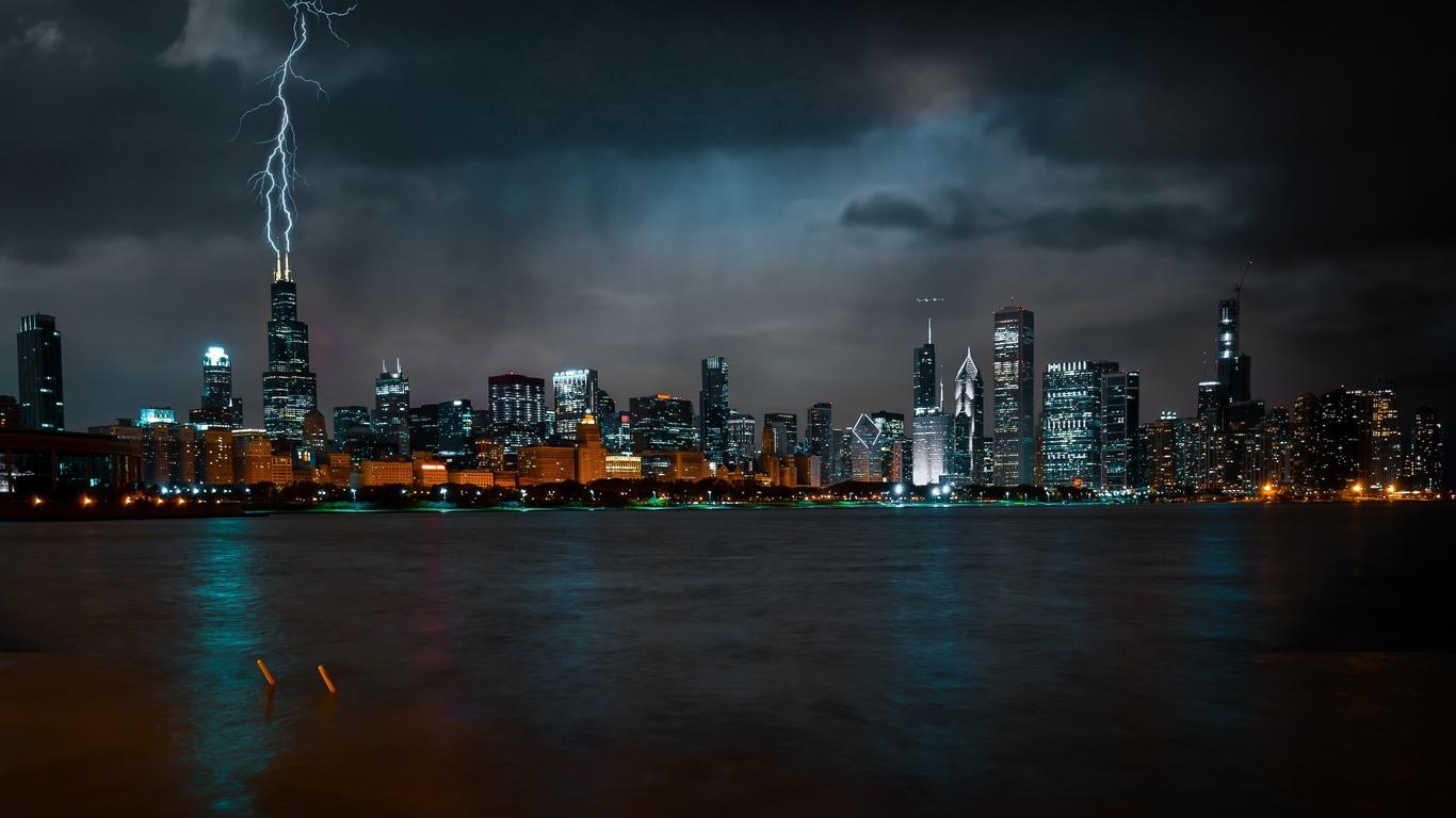 чикаго, ночь, небоскребы, мегаполис, гром